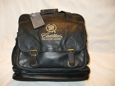 Vintage Cadillac Leather Luggage Duffle Carry on Bag Plaid Lined Multi Pocket