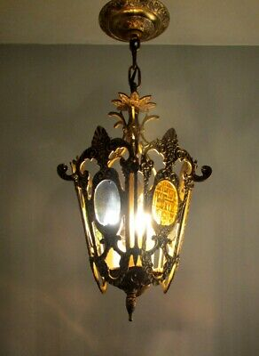 Vintage Petite Brass SEMI FLUSH HANGING LIGHT CHANDELIER Glass Lantern Small
