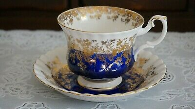 VINTAGE Royal Albert Regal Series Blue Footed Cup and Saucer, England