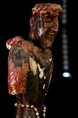 18th Century Primitive Antique Spain Wood Carved Catholic Priest Monk 18 Inches