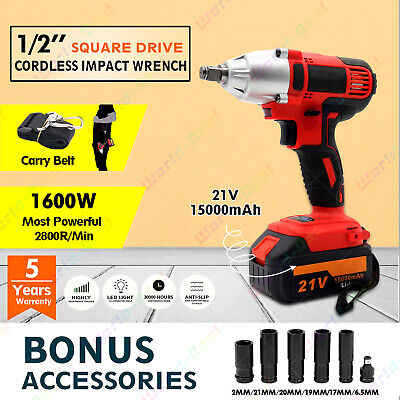 """350N 1/2"""" Square Drive Lithium-Ion Cordless Impact Wrench Rattle Gun w/ Battery"""