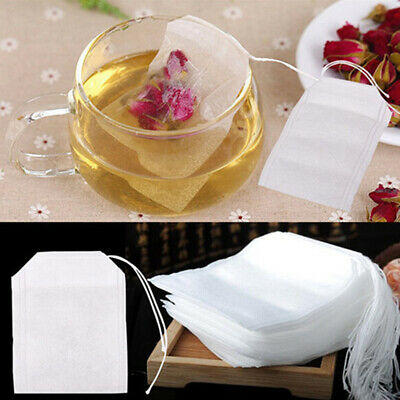 50X Empty Teabags String Heat Seal Filter Paper Herb Loose Tea Bag White 5.5*7cm