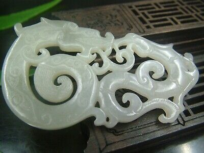 Antique Chinese Nephrite Celadon-HETIAN-OLD Jade dragon  Pendant/Statues