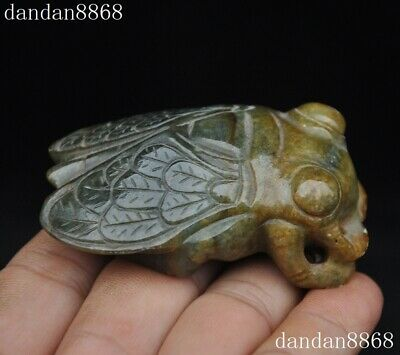"""3"""" Rare Chinese Hongshan Culture old Jade Carving cicada amulet  Pendant Statue"""