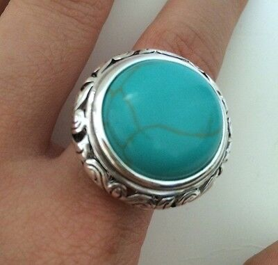 Beautiful Silver Plated Oxidized Brass Filigree Turquoise Ring Size 7 Southwest