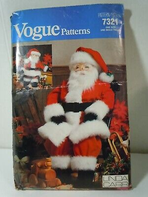 "Vogue Christmas Santa Claus Dolls 26"" & 49"" Vtg Sewing Pattern Traditional Uncut"