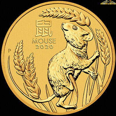 2020 Perth Mint 1/10oz Gold Lunar Year of the Mouse Coin with Capsule