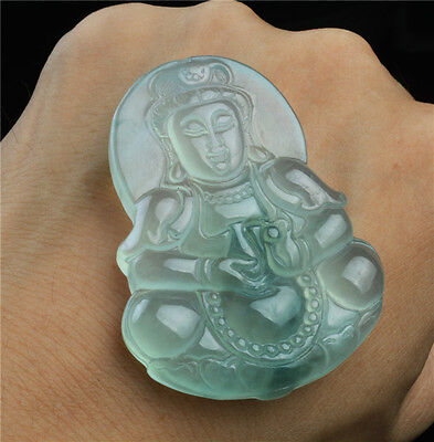 glassy jade jadeite necklace pendant A grade kwan yin guanyin emerald icy quan V