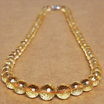 genuine yellow crystal 128 face cut natural lady bead necklace chain faceted