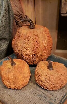 Faux Aged Distressed Realistic  Pumpkins for your bowls & buckets (3)