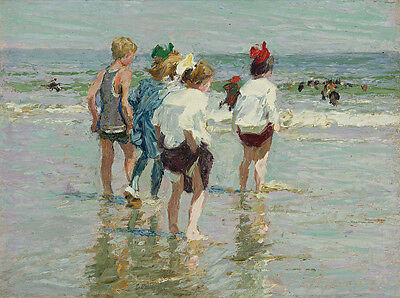 Summer Day Brighton Beach after Edward Henry Potthast Oil Painting Impressionist