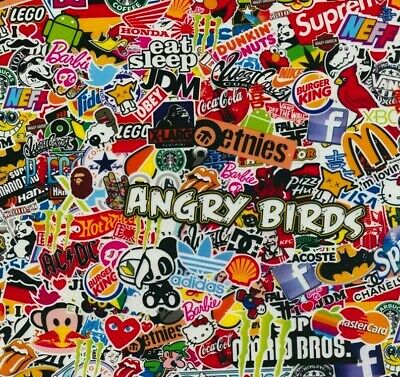 Sticker bomb hydrographic film hydro dipped 100cm width, various sizes Folded