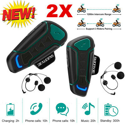 2X Motorrad BLUETOOTH Helmet Gegensprechanlage Intercom Headset 1200M 3 Riders