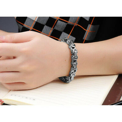 New Heavy Silver Tone Stainless Steel Curb Chain Men's Fashion Bangle Bracelet