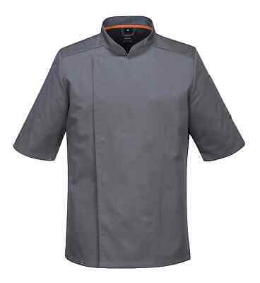 Portwest C738 MeshAir Pro Men Chef Jacket Short Sleeve Polycotton Areated Grey