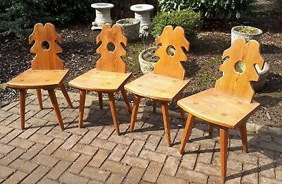 Set of 4 Alpine Tyrolean Swiss Style Carved Pine Dining Chairs Rustic Farmhouse