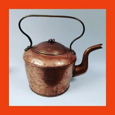 Antique Swedish Traditional Copper Kettle C1770 - BIG 5 Pint - Crown Finial