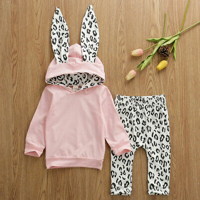 UK Winter Cute Toddler Baby Girls Clothes Cotton Hoodie Tops Pants Kids Outfits