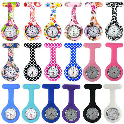 Nurse Watch Patterned Silicone Nurse Brooch Tunic Fob Watch With Free Battery UK