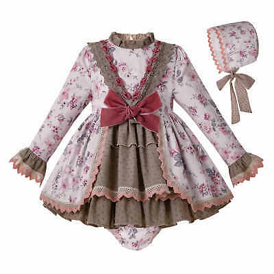 Toddler Baby Girls Christmas Floral Dress Frilly Bonnet Shorts Set Party Dance
