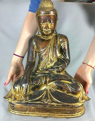 Antique Bronze Buddha Statue, Burma 19th Century Mandalay, Lacquered Gilded
