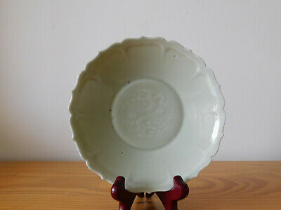 Antique Chinese Ming Green Celadon Porcelain Small Plate Dragon Pheonix