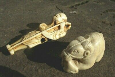 2 X Antique Genuine  Netsuke  19Th Century One Signed
