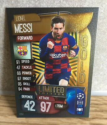 Match Attax 2019/20 Lionel Messi Gold Limited Edition Card Barcelona