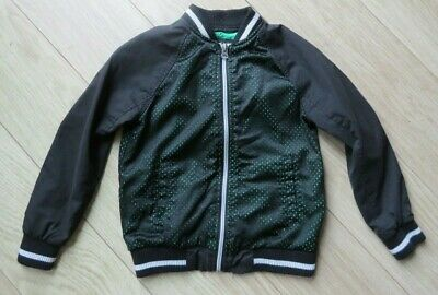 BOYS River Island Bomber Jacket Coat AGE 7 Years BLACK/LIME GREEN GREAT CONDITI