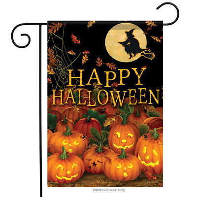 "Field of Jack-O-Lanterns Halloween Garden Flag Witch Pumpkins 2 Sided 12.5""x18"""