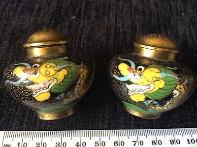Pair Of Cloisonne Minature Dragon Pattern  Powder Pots
