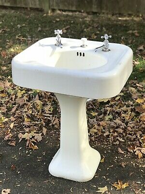 Antique 1920's Cast Iron Porcelain Pedestal Sink By Standard Manufacturing Used