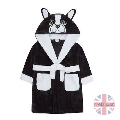 Children Girls French Bulldog Novelty Dressing Gown Robe Plush Fleece 2-13 Years