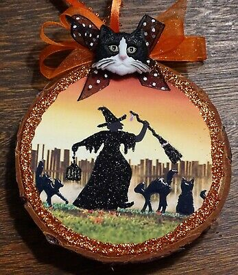 Witch,Cats,Halloween,Wood Slice Ornament,glittered,silhouette,JOL