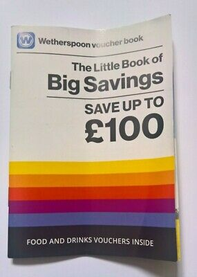 J. D. Wetherspoon Vouchers Book - Cocktails Beer Ale Food Discounted Cheap