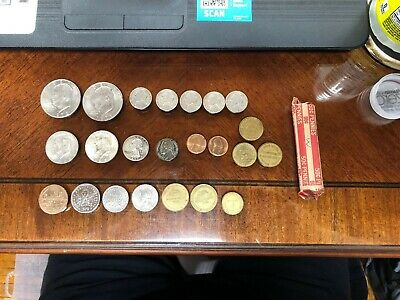 Junk Drawer COIN LOT US 90% & 40% Silver, Tokens Ike $ Wheatie Roll ++