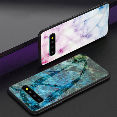 For Samsung Galaxy S10 Plus Note 9 Marble Shockproof Hybrid TPU Glass Case Cover