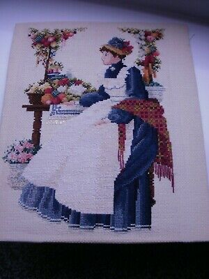 VINTAGE CROSS STITCH PICTURE Completed  LADY