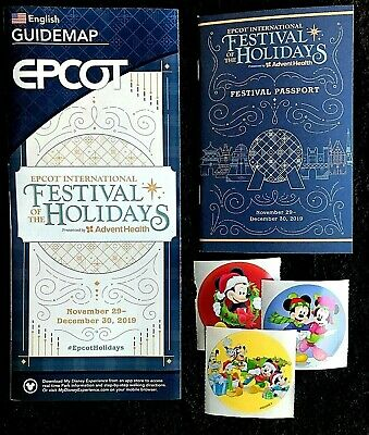 NEW 2019 Walt Disney World Festival of the Holidays Guide Map and Passport +++