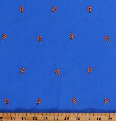Blue Cotton Twill with Embroidered Pizza Slices Food Fabric by the Yard D245.10