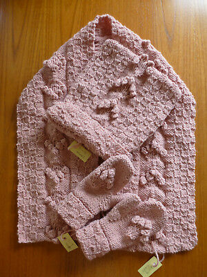 Lovely Handmade Pink Super Soft Knitted 3-Piece Set: Scarf, Hat & Mittens 7-9yrs