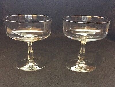 Lenox Solitaire Champagne / Tall Sherbet Crystal Stems Lot / 2  Platinum Barclay