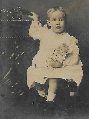 Antique Cabinet Card Photo Girl w/  Look-a-like Bisque Doll - Mobile AL -Named
