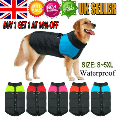 Pet Dog Warm Padded Vest Coat Clothes Waterproof Puppy Winter Jacket Apparel UK,