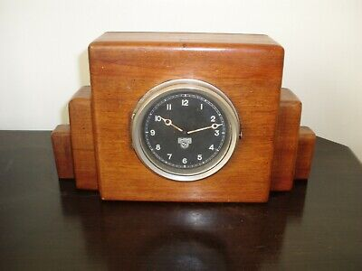 Vintage SMITHS 7 DAY Aircraft/CAR part in Solid MAHOGANY mantle/desk CLOCK.Works