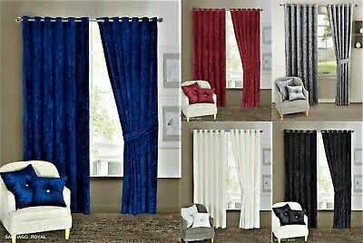 Curtain Pair Heavy Crushed Velvet Ready Made Fully Lined Ring Top Tieback Eyelet