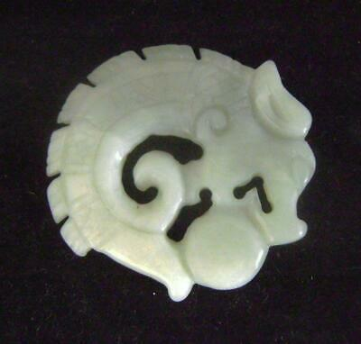 Chinese Carved White Jade / Hardstone Pendant : Dragon & Pearl 6 cm wide
