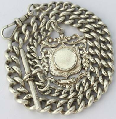 Antique Solid Silver Albert Pocket Watch Chain W Fob c.1895(R3064)