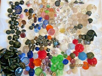 Antique VTG glass button lot 300 moonglow realistic cobalt red green picture