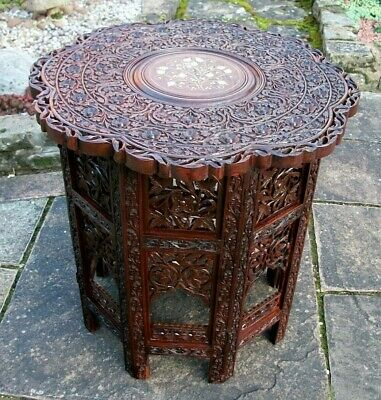 Beautiful  Antique Octagonal Folding  Anglo/Indian  Inlaid Side Table